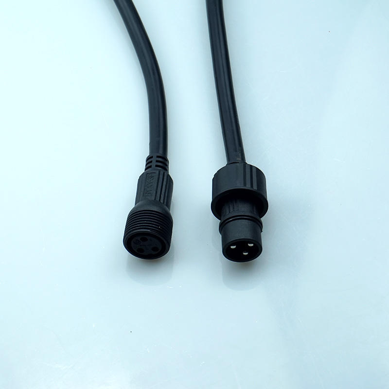 LED light power male to female  PVC connector 3 pin ip67 waterproof plug