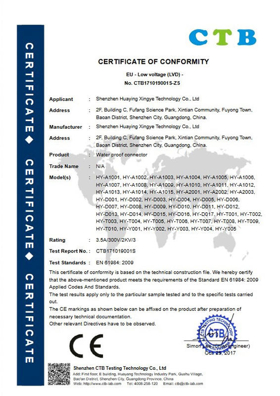 Waterproof joint CE certificate 2017-12-12