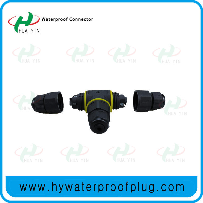 M20  3PIN  P67 Led Power Cable Splitter Electrical Waterproof Screw Fixing T Type Connector