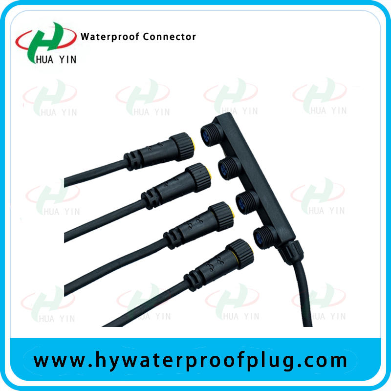M15 1To 4 Connector(4 port led light distributor, push lock F type waterproof connector)