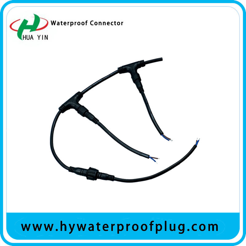 Professional manufacturers supply T type three-way waterproof plug wire, waterproof connector wire, male and female head waterproof plug