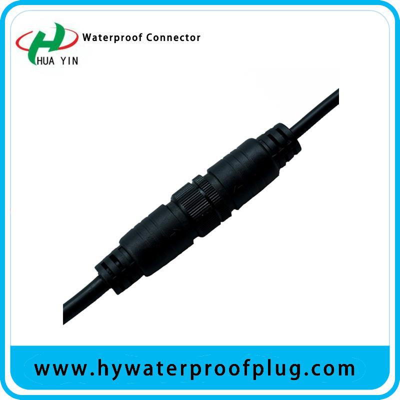 M20  Generic 4Pin M/F Plug Waterproof   metal  Connector Cable Black