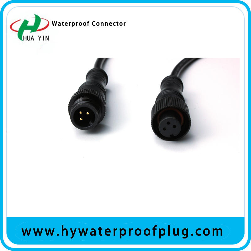 HUA YIN IP67 Male Female Car Cable Metal Connector for LED Light