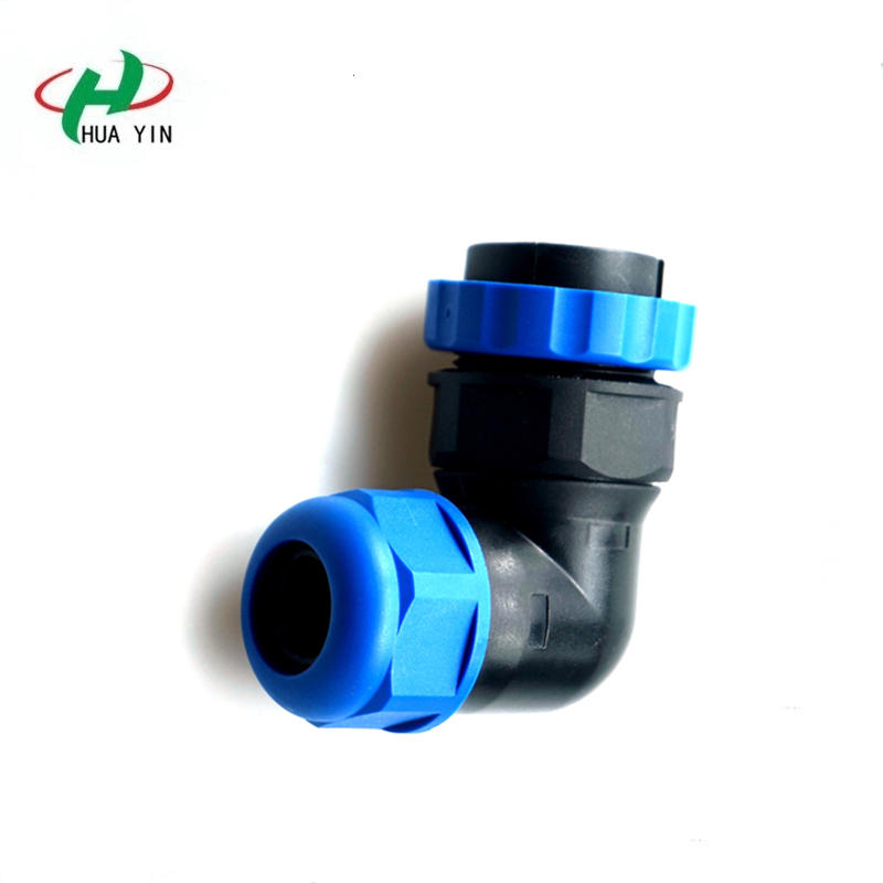 M28 6core waterproof aviation plug and socket IP67 male and female joint elbow rear nut connector