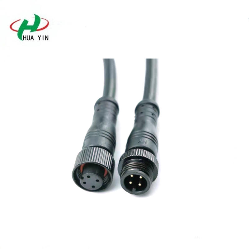 Generic 4Pin M/F Plug Waterproof   metal  Connector Cable Black