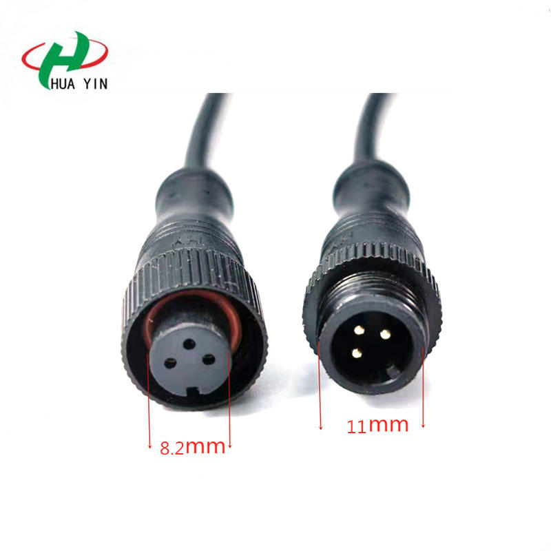 3Pin metal  PVC waterproof  joint  M12 metal nut type IP67 waterproof connector for LED lighting