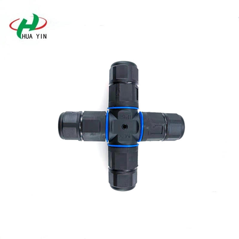 IP68 Waterproof Connector 4Pin Electrical Terminal Adapter Wire Connector Cross Straight for Outdoor Lighting Connectors